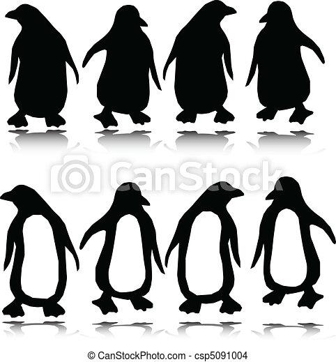 penguin vector silhouettes - csp5091004