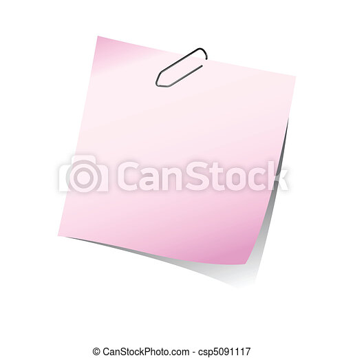 pink reminder note with paper clip - csp5091117