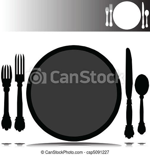 place set vector silhouettes - csp5091227