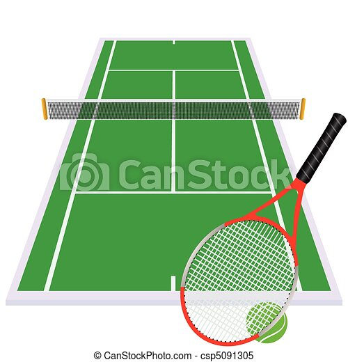 play tennis on green court - csp5091305