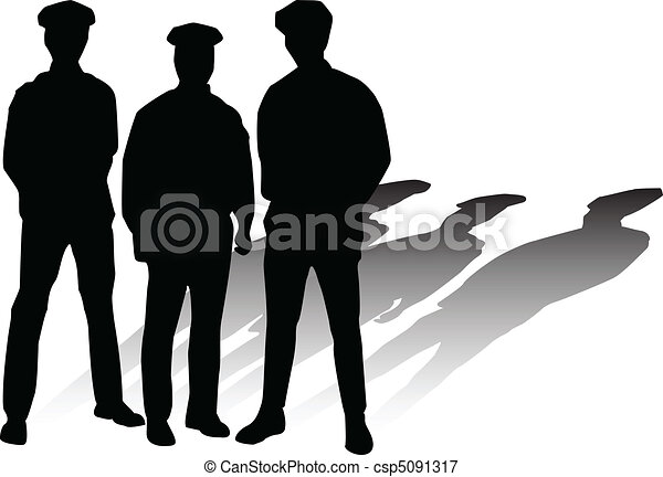 police vector silhouettes - csp5091317