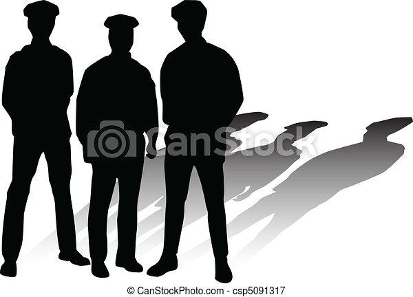 police vector silhouettes - csp5091317