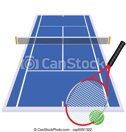 play tennis on blue court - csp5091322