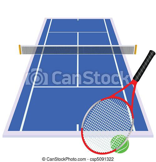 play tennis on blue court - csp5091322