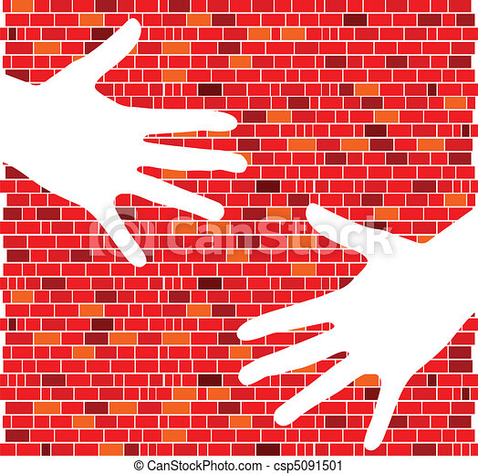 red brick wall with white hand - csp5091501
