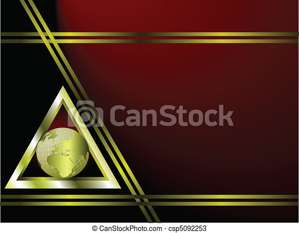 A deep red and gold Business card Template - csp5092253