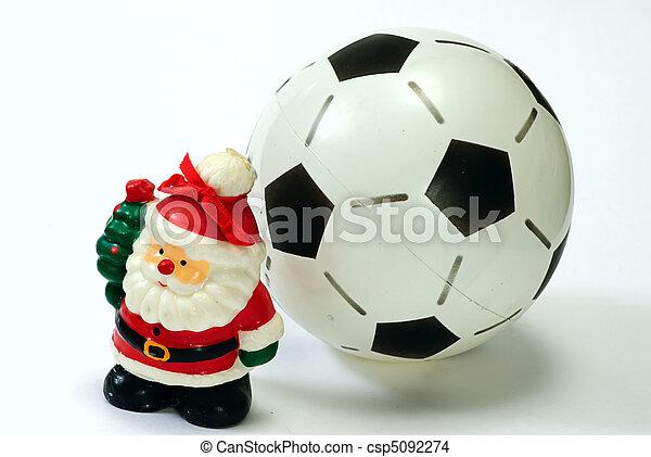 Stock foto van voetbal claus bal witte kerstman kerstman claus en csp5092274 zoek - Sterke witte werpen en de bal ...