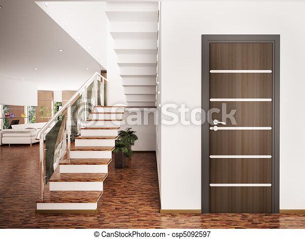Entrance hall interior 3d render - csp5092597