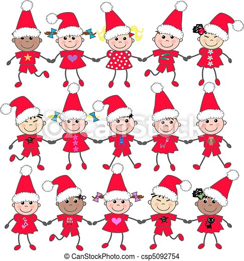 Drawing of mixed ethnic kids in christmas clothes csp5092754 ...