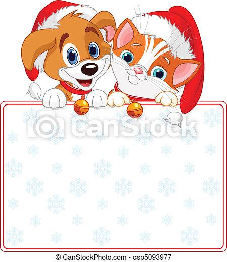 Vector , navidad, gato, perro, señal
