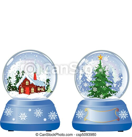 Two Christmas Snow Globes - csp5093980