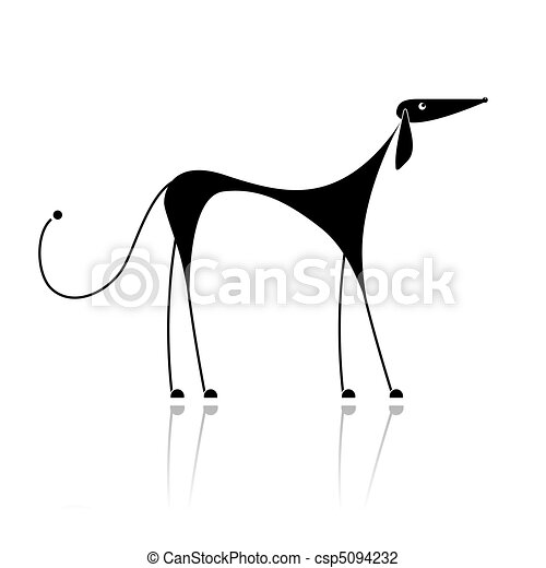 Funny black dog silhouette for your design - csp5094232