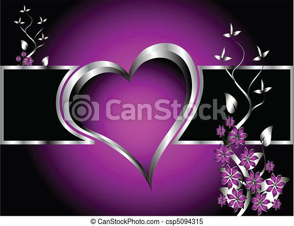 A purple hearts Valentines Day Background - csp5094315