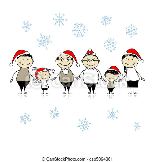 Merry christmas. Happy big family together for your design - csp5094361