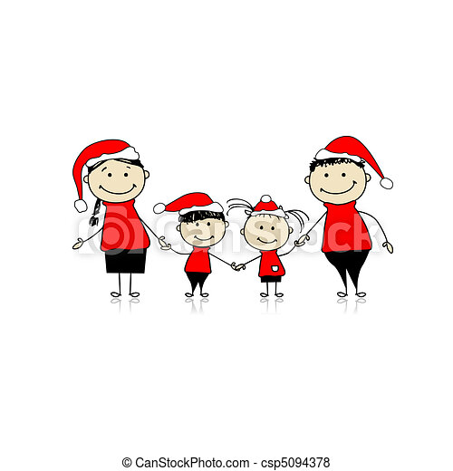 Happy family smiling together, christmas holiday - csp5094378