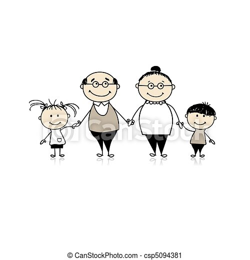 Happy family together - grandparents and grandchildren - csp5094381