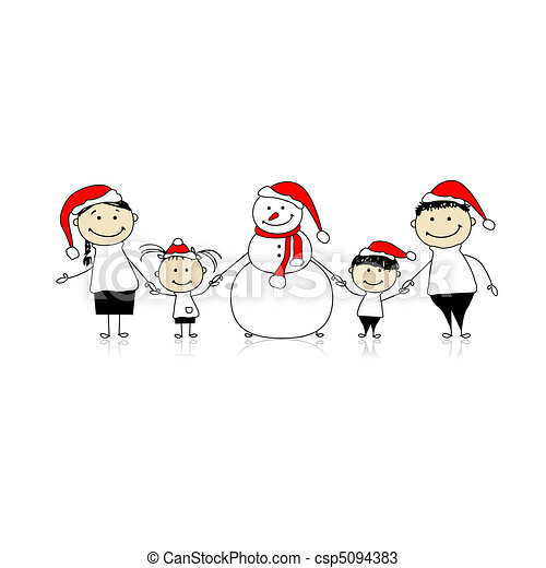 Happy family and snowman, christmas holiday - csp5094383