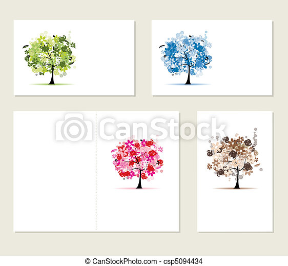 Set of business cards, floral trees for your design - csp5094434