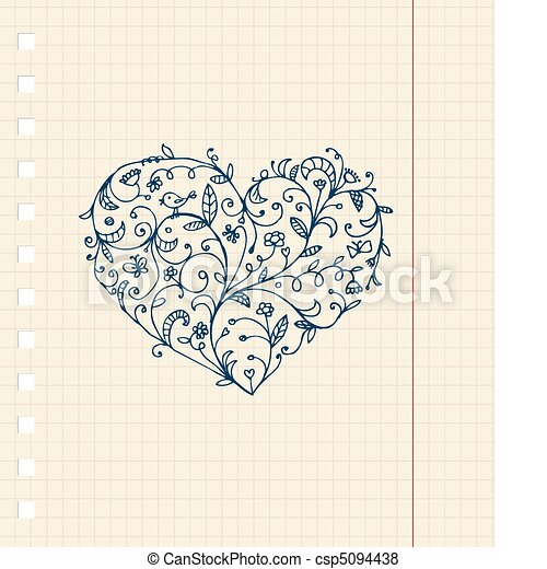 Sketch of floral heart ornament on notebook sheet - csp5094438