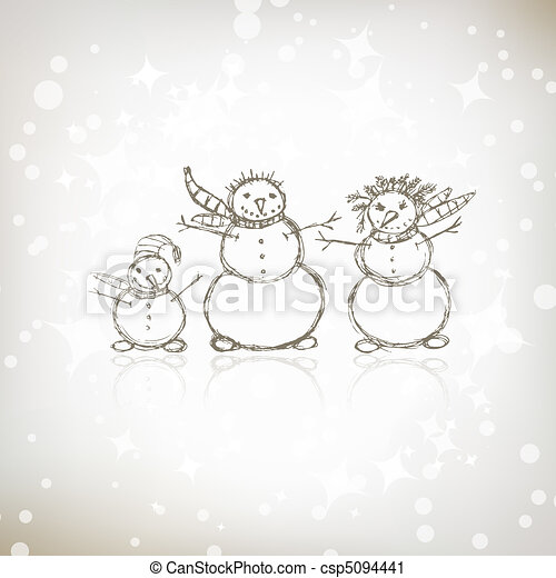 Family of snowmen, christmas sketch for your design - csp5094441