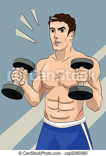 Athletic man with dumbbells - csp5095060