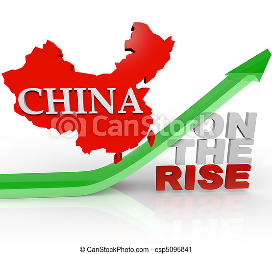 China on the Rise - Country Map on Arrow - csp5095841