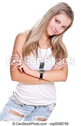 beautiful woman in a jeans with dog tag - csp5098749