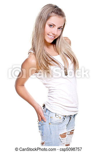 beautiful woman in a jeans with dog tag - csp5098757