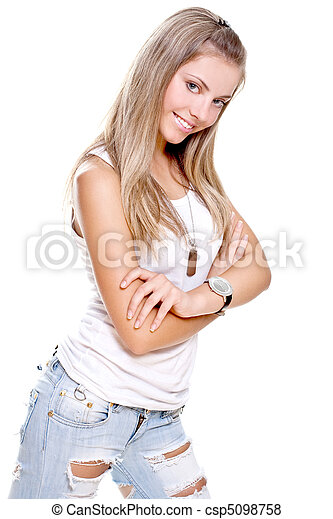 beautiful woman in a jeans with dog tag - csp5098758