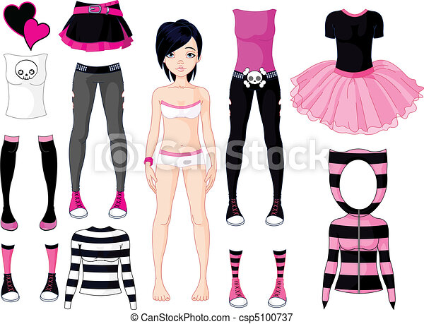 Girl with dresses .  Emo stile - csp5100737