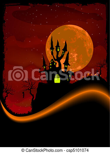 Scary Halloween Castle with Copy Space. EPS 8 - csp5101074