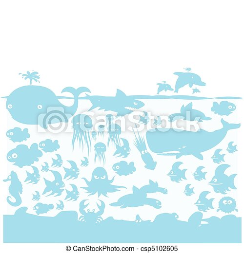 Ocean wildlife blue on light blue - csp5102605
