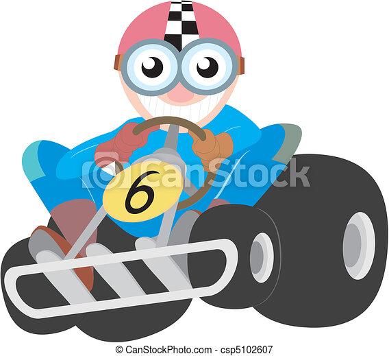 Funny cartoon racing kart - csp5102607