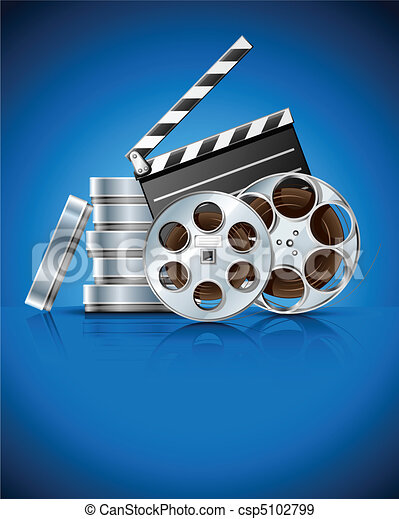 cinema clapper and video film tape on disc - csp5102799