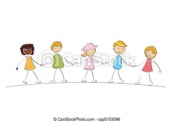 multi racial kids - csp5103096