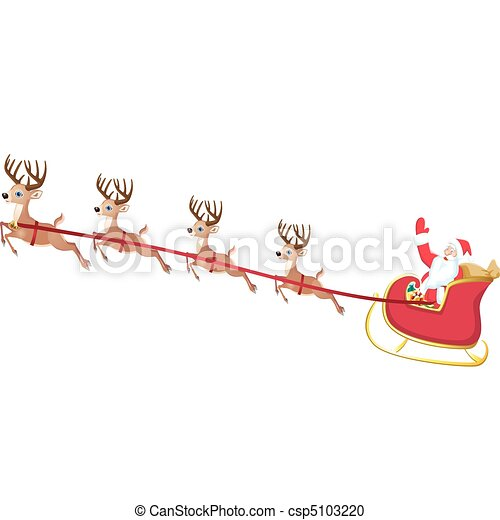 Vector Clipart of santa sleigh - vector illustration of santa's ...