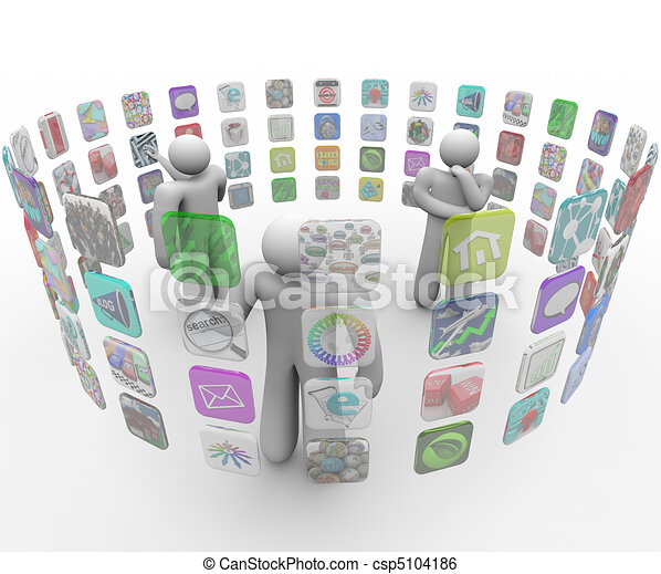 People Choose Apps on Projected Touch Screen Walls - csp5104186