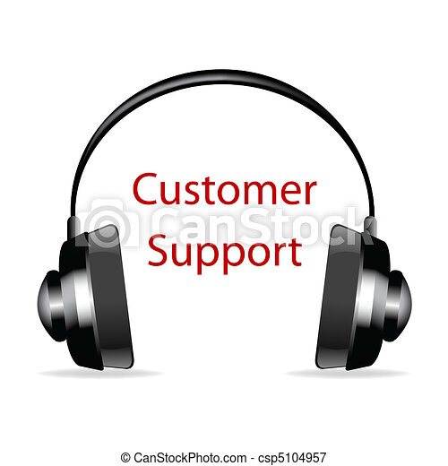 headphone with customer support text - csp5104957