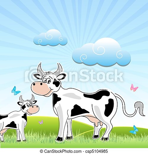 sketchy cow with mammal in field - csp5104985