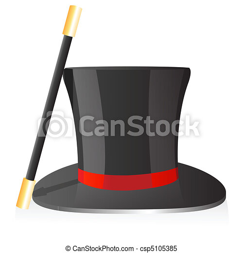 Clipart Vector of magic hat and wand - illustration of magic hat ...