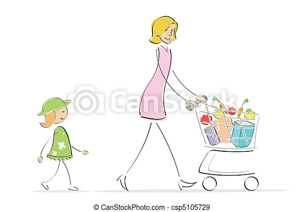 mother and daughter shopping - csp5105729