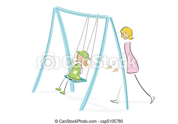 mom pushing daughter on swing - csp5105780