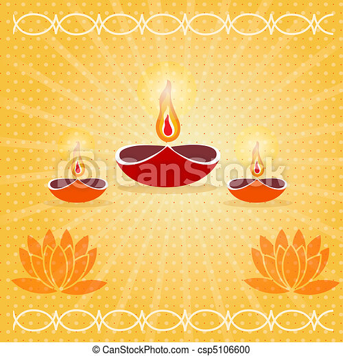 diwali card decorated with diya - csp5106600