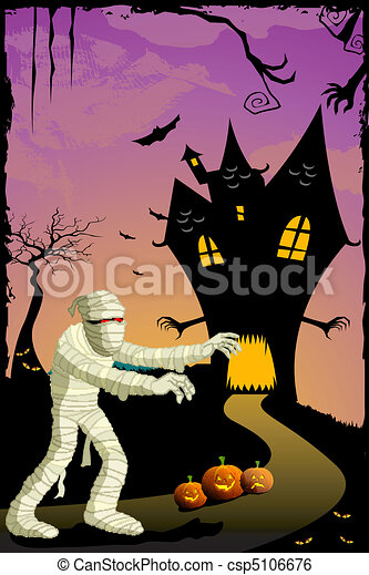 mummy going to haunted house - csp5106676
