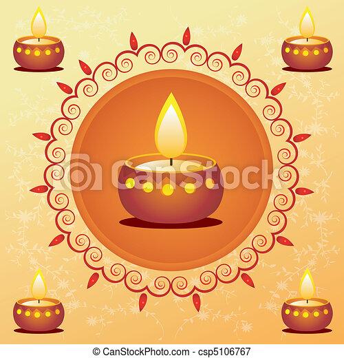 diwali card decorated with diya - csp5106767