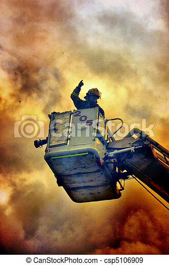 Fireman in the fire - csp5106909