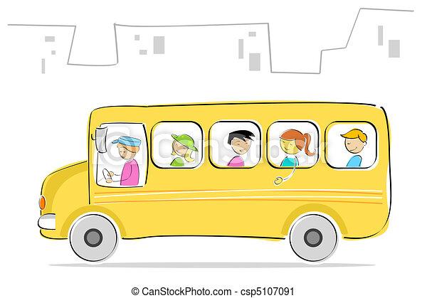 School Bus Drawings Vector Kids in School Bus