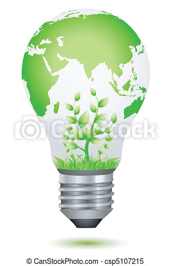 growing plant inside global bulb - csp5107215