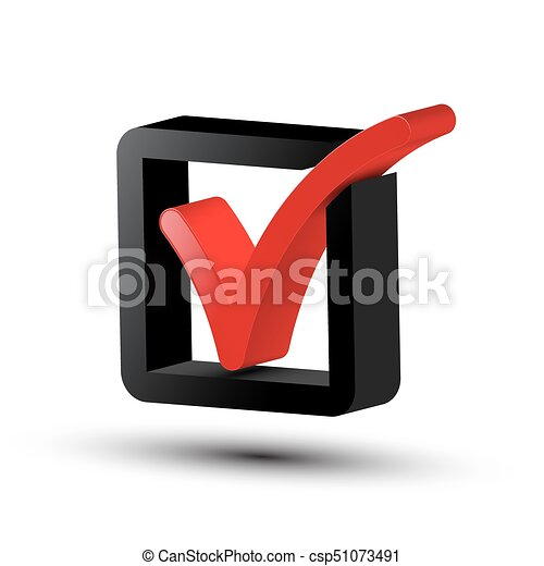 3d Tick Symbol. Vector Red and Black Checkbox Icon Isolated on White Background. - csp51073491