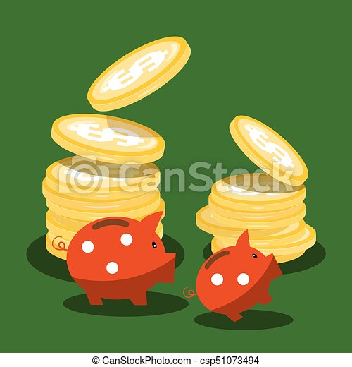 Money Piggy Banks and Dollar Coins on Green Background - csp51073494